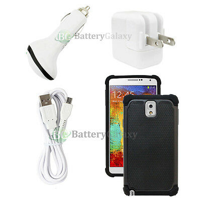 White Wall 1.5A+Car Charger+6FT USB Cable+Black Case for Samsung Galaxy Note 3