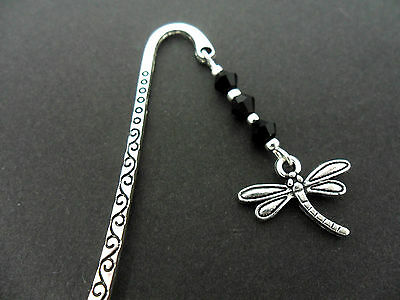 A Tibetan Silver  Dragonfly Charm Black Crystal Beads Bookmark. New.