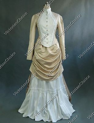 Victorian Bustle Riding Habit Bridal Gown Dress Theater Steampunk Clothing 139