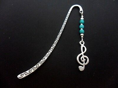 A Pretty Tibetan Silver Musical Note Charm Turquoise Beads Bookmark. New.