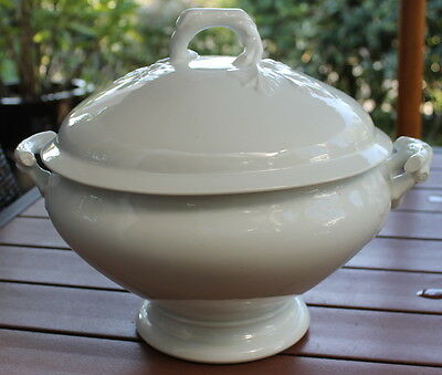 FRENCH LUNEVILLE Ceramic SOUP TUREEN Nordic WHITE late 1800