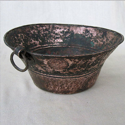 Antique Copper Measuring Pot Hand Hammered With King Stamp Nepal