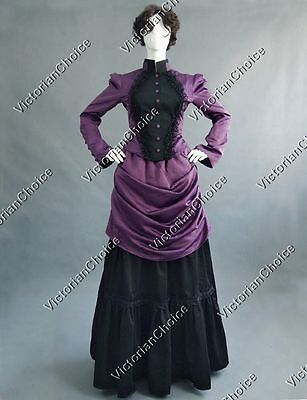 Victorian Edwardian Dark Vampire Bustle Dress Punk Theater Halloween Costume 139