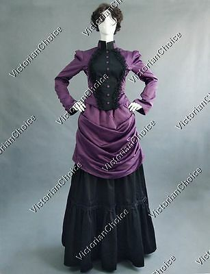 Victorian Edwardian Gothic Bustle Riding Habit Gown Dress Theater Clothing 139