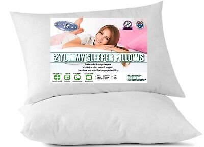 1 or 2 King Size Aust Made Tummy Sleeper Pillow Hollow Fibre Cotton Casing 50x90