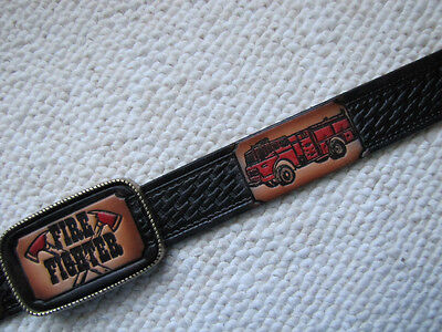 FIREFIGHTER Basket Weave Belt  Matching Leather Buckle & FD PIN!