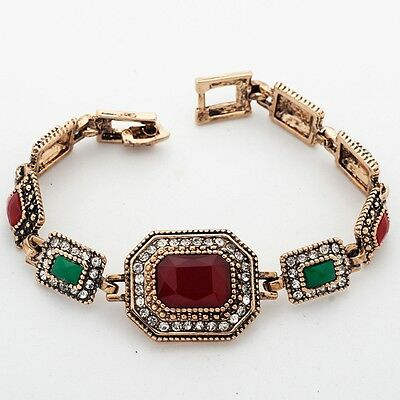 Black Green Red Blue Rectangle Gems Cubic Zircon Gold Plated 19 cm Bracelet