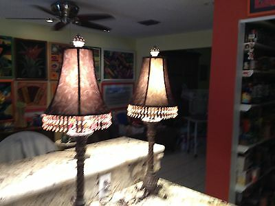 Vintage Old Brass Floral Amber Bead Table Lamp & Shade -WOW Beauty works