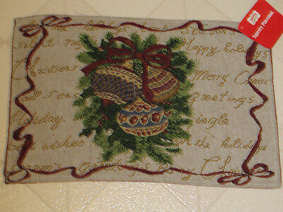 Placemats Tapestry Christmas Ornaments Pine Boughs New Set 4 Seasons Greetings