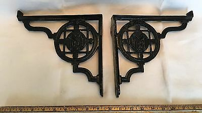 """M"" COAT OF ARMS PR BLACK IRON ANTIQUE CORNER BRACKETS  9.25"" x 8.5"" Rg#223821"