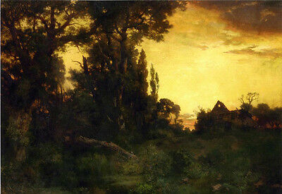 Oil painting art Thomas Moran - Twilight landscape free shipping cost for all