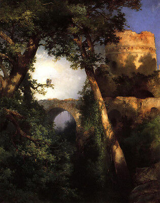 Oil painting Thomas Moran - Two Owls on the branch landscape with bridge canvas