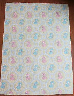 Vintage Baby Quilt Hand Pieced And Hand  Quilted Euc