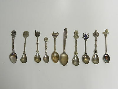 10 Antique Souvenir spoons from 1930 to 1980 rare vast amount of countries Metal