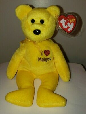 Ty Beanie Baby ~ I LOVE MALAYSIA the Bear ~ Malaysia Country Exclusive ~ MWMT'S