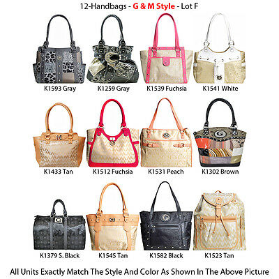 Wholesale Lot - 12 Women's G & M Style Handbags - Designer Satchel Purses