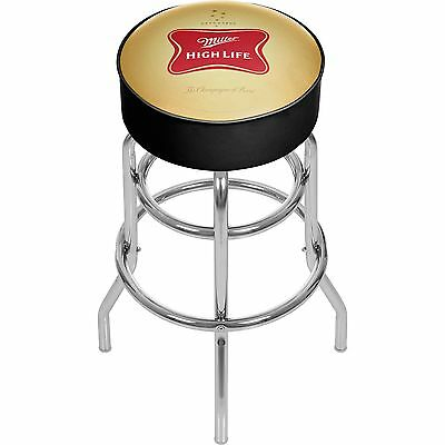 "Miller High Life Beer Logo Padded Bar Stool 30"" Chrome"