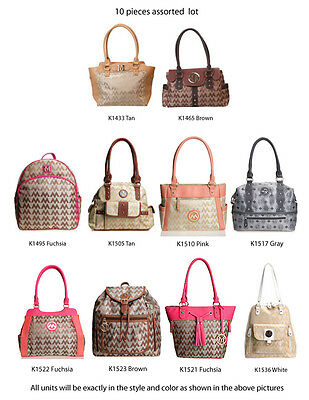 Wholesale Lot - 10 Assorted Women's M-Style Purses - Handbags Backpacks Satchels