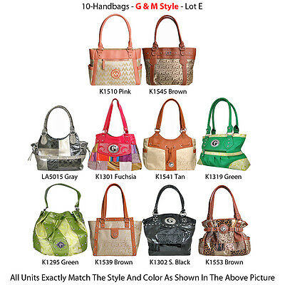 Wholesale Lot - 10 Women's G & M Style Handbags - Designer Satchel & Tote Purses