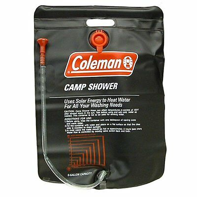 Coleman Shower Bag 5 Gallon PVC Solar Heated Water Camp Shower - On/Off Valve