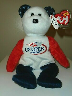 Ty Beanie Baby ~ SMASH the Tennis Bear (US OPEN Version Exclusive) MWMT