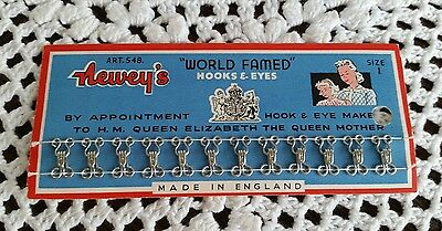 Vintage Newey's Sewing Hooks and Eye's Made in England Complete on Card