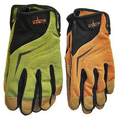 Two Pairs Habit® Premium Leather & Spandex LARGE Work Gloves by Plainsman NEW