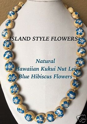 Hawaii Wedding Natural Kukui Nut Lei Graduation Luau Necklace Hibiscus BLUE