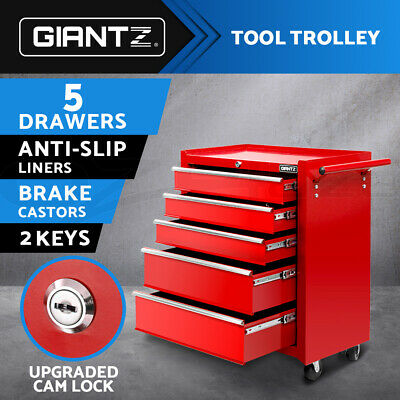 Giantz 5 Drawers Tool Box Chest Cabinet Trolley Boxes Garage Storage Toolbox RD