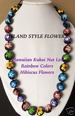 Kukui Nut Lei Multicolored Hibiscus Flower Necklace Hawaiian Graduation Wedding