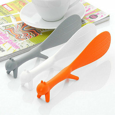 Home Kitchen Gadget Squirrel Shape Holder Rice Scoop Spoon Paddle Scoop Ladle JG