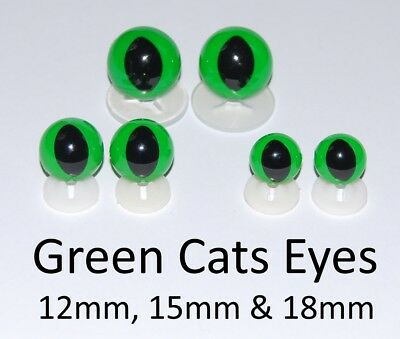 GREEN CATS EYES PLASTIC BACKS - Teddy Bear Making Soft Toy Doll Animal Craft