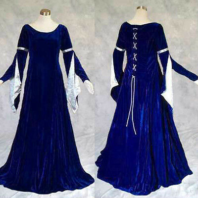 Blue Velvet Medieval Renaissance Gown Dress Cosplay Costume LARP Wedding XL 1X