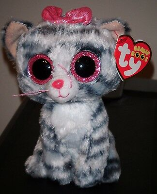 """Ty Beanie Boos - WILLOW the 6"""" Justice Exclusive Cat ~ 2015 NEW Release ~IN HAND"""