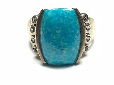 Beautiful Ladies Native Sterling Silver - Faux Turquoise - Must See -  Size 11