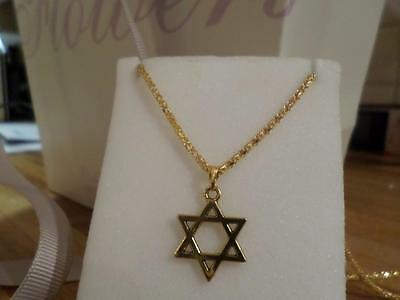 Beautiful Gold Plated Star Of David Pendant On Necklace. Jewish Jewellery Gift