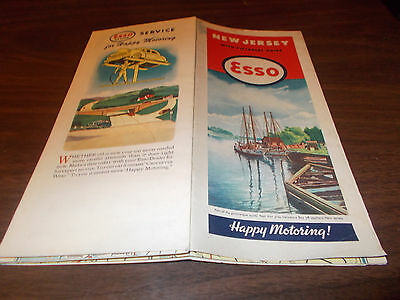 1946 Esso New Jersey Vintage Road Map / Nice Graphics !!