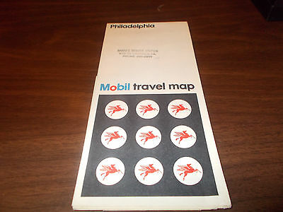 1972 Mobil Philadelphia Vintage Road Map
