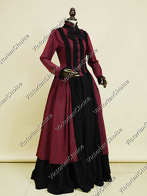 Victorian Gothic Prom Dress Ball Gown Steampunk Reenactment Theater Clothing 175