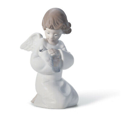 New Lladro #8245 Loving Protection Angel Brand New In Box Dove Peace Save$ F/sh