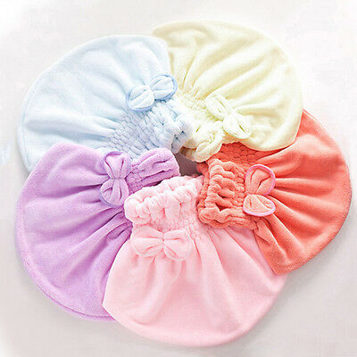 New Women Absorbent Microfiber Shower Cap Hair Drying Towel Hat Bowknot Turban