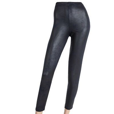 Stretchige, sexy Legging Legin Leggings in LEDEROPTIK Lagenlook dunkelblau