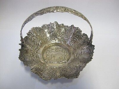 Dutch Antigüedad Solid Plateado Manejado Platos Repujado Estilo Holland C 1880