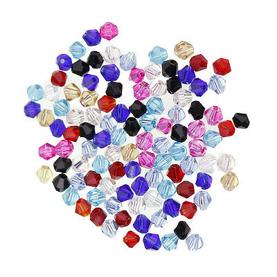 Lot 100 4mm Faceted Bicone Assorted Color Crystal Glass Loose Bead Spacer