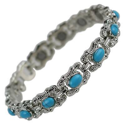NEW Ladies Pretty Turquoise Stone MAGNETIC BRACELET Magnet Therapy Boxed Blue