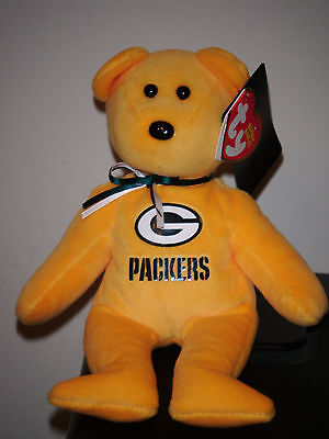 """Ty Beanie Baby ~ GREEN BAY PACKERS 8"""" NFL Football Bear ~ 2015 NEW MINT ~IN HAND"""