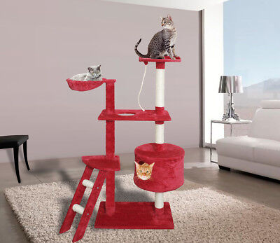 """58"""" Red White Cat Tree Play House Tower Condo Furniture Scratch Post Bed Basket"""