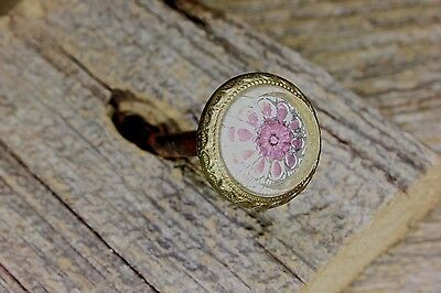 Picture hanger nail purple flower glass old decorated brass edge vintage 1800's