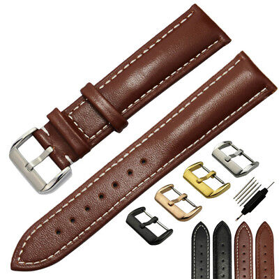 18mm ~ 26mm Mens Smooth Genuine Leather Watch Band Strap Stainless Steel Buckle