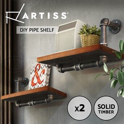 Artiss Rustic Industrial DIY Pipe Shelf Vintage Floating Shelves Wall Shelving
